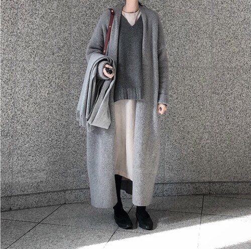2019 Winter Knitted Long Cardigan Women Oversize Cardigan Coat Korean Style Black Gray Sweater Open Stitch