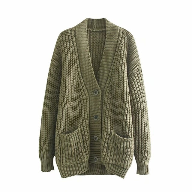 2019 Winter Knitting Jacket Coat Women Cardigan Single Breasted V Neck Coat Female Casual Cardigan Sweater