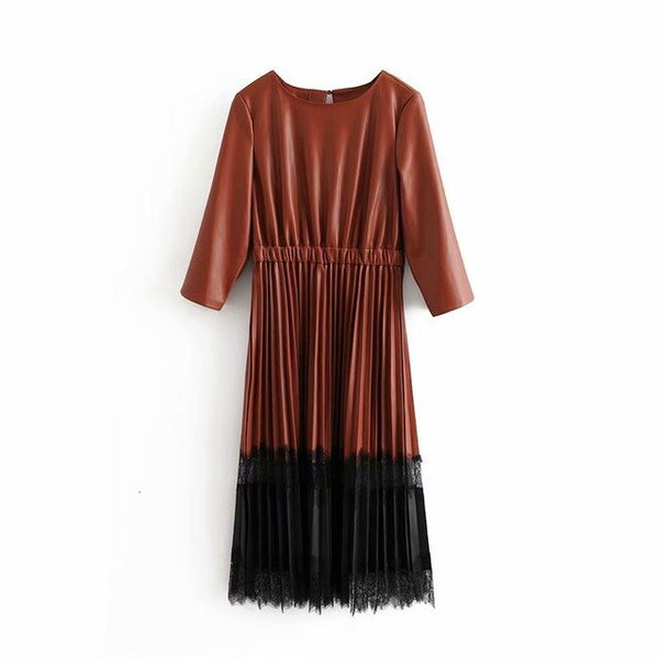 2019 Winter Lace Spliced Pleated Dress Women Pu Leather Midi Dress Round Neck Elegant Vetidos