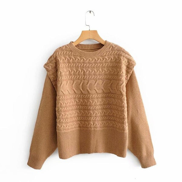 2019 Winter Sweater Women Spliced Tops Braided Knitted Pullver Sweater Round Neck Jumpers Korean Clothing