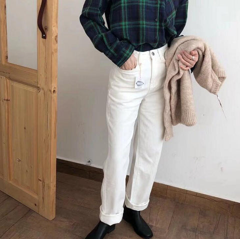 2019 Winter White Jeans Thick Warm Fleece White Denim Trousers High Waist Jeans