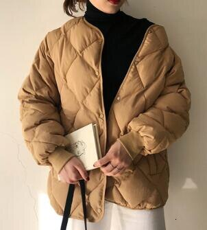 2019 Winter Women Cotton Padded Down Coat Korean Fashion Beige Brown Color Oversize Thick Winter Coat