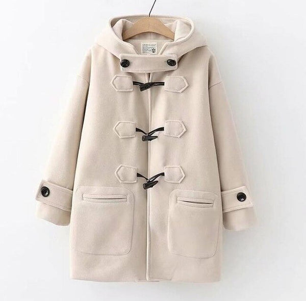 2019 Winter Women Japanese Fashion Horn Buttons Hooded Woolen Coat Mori Girls Winter Windproof Loose Woolen Coat