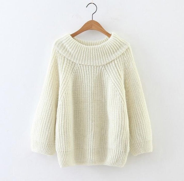 2019 Winter Women Off Shoulder Long Sleeves Sweater Loose Sexy Knit Pullovers