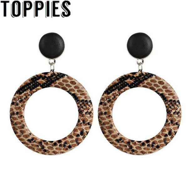 2019 Winter Women Snakeskin Faux leather Round Circle Earrings Vintage Jewelry European Fashion Snake Earrings