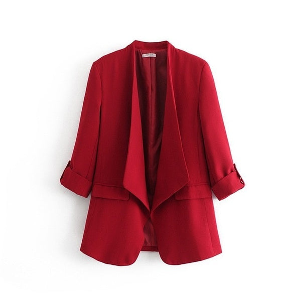 2019 Women Black Red Suit Three Quarter Sleeve Blazers Loose Cardigan Coat OL Small Suit Solid Color