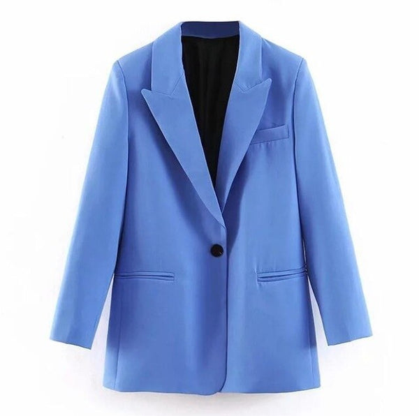 2019 Women Blue Small Suit Set Single Button Blazer Jacket High Waist Paperbag Pants Office Lady Formal Two Piece Set