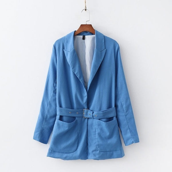 2019 Women Cotton and Linen Blue Small Suit Set Belt Thin Long Blazer Jacket High Waist Straight Pant Office Lady Two Piece Set
