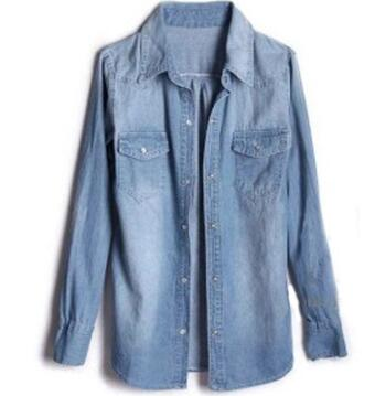 2019 Women Denim Shirts Jeans Shirt with Pockets Causal Denim Blouse for Women tops female chemise femme