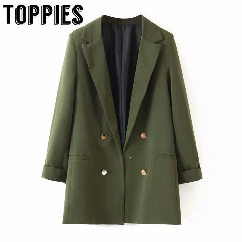 2019 Women Double Breasted Greem Blazer Jacket Long Sleeve Lady Small Suit Notched Collar Loose Coat
