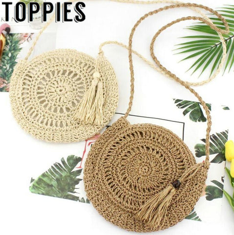 2019 Women Hollow Out Straw Bags Paper Rope Crossbody Bag Bohemian Beach Women Circle Bag