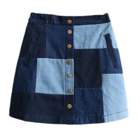2019 Women Jeans Skirt High Waist Buttons Patchwork Denim Mini Skirt Mori Girl Jeans Skirt
