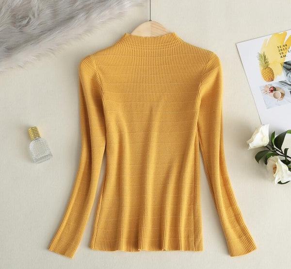 2019 Women Knitted Sweater Candy Color Korean Slim-fit Tight Sweater Autumn Winter Tops Elasticity Pullovers
