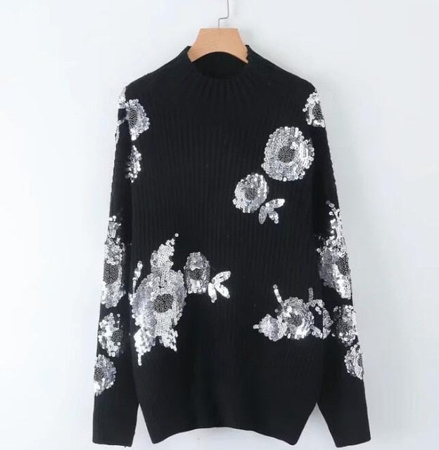 2019 Women Sequined Flower Knitted Sweater Loose Turtleneck Sequins Beading Pullovers Sweater Winter Thick Black Tops