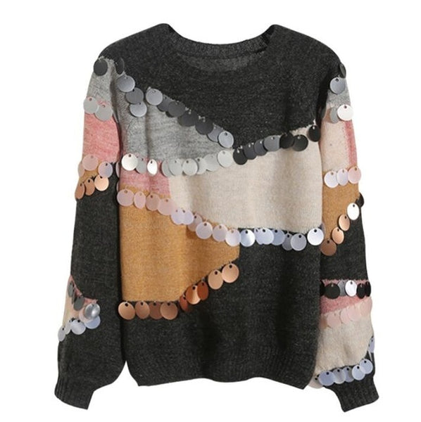 2019 Women Sequins Beading Sweaters O-neck Loose European Style Knitwear Mohair Sweater