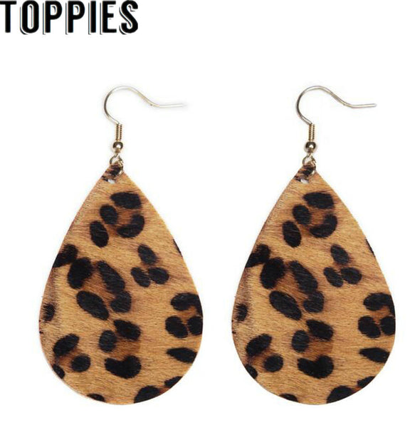 2019 Women Trendy Leopard Print Faux Leather Glossy Teardrop Earrings Zebra Print Drop Earrings