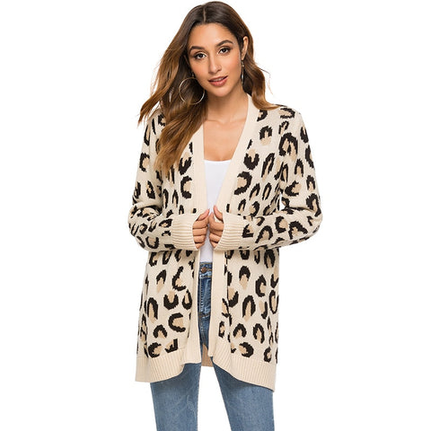 2019 autumn and winter new Korean version of the loose long section V-neck knit cardigan female leopard sweater coat
