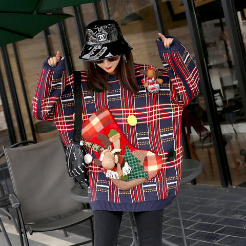 2019 autumn and winter new age-old lattice control heavy work ladies sweater Christmas socks sweater women's coat tops