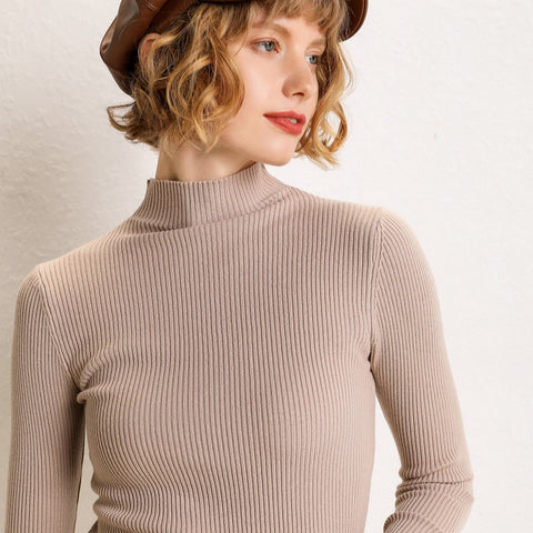 2019 autumn and winter new half-high collar pullover slim sweater inside jacket long-sleeved tight-fitting shirt sweater women