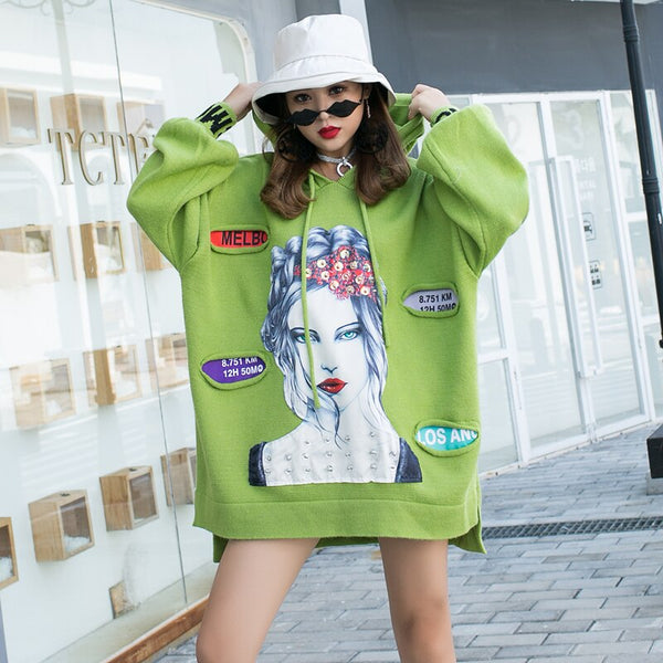 2019 autumn and winter new tide brand cartoon patch hole sweater female long section loose hooded chic sequin coat