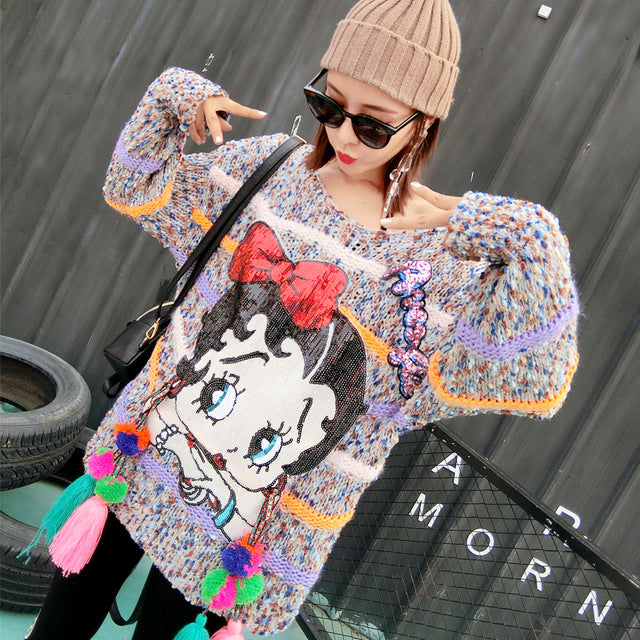 2019 autumn and winter new tide brand cartoon sequins color tassel color strip ladies sweater women's sweater loose large size