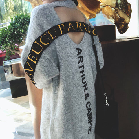 2019 autumn gray round neck hollow back letter pullover sweater female autumn and winter long section super fire sweater