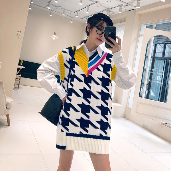 2019 autumn new color matching V-neck long sleeveless sweater female casual houndstooth pattern wool vest