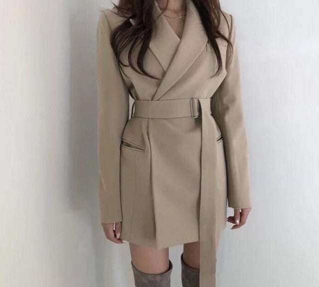 2019 autumn winter belted blazer beige black color slim blazer coat office lady elegant jackets