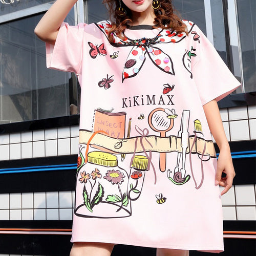 2019 female tide brand cartoon printed sequins short-sleeved T-shirt female loose large size dress women's clothing