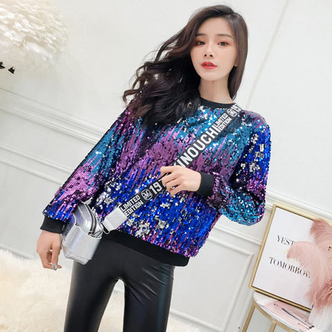 2019 new tide brand color sequins round neck long-sleeved T-shirt top women's self-cultivation wild personality bottoming shirt