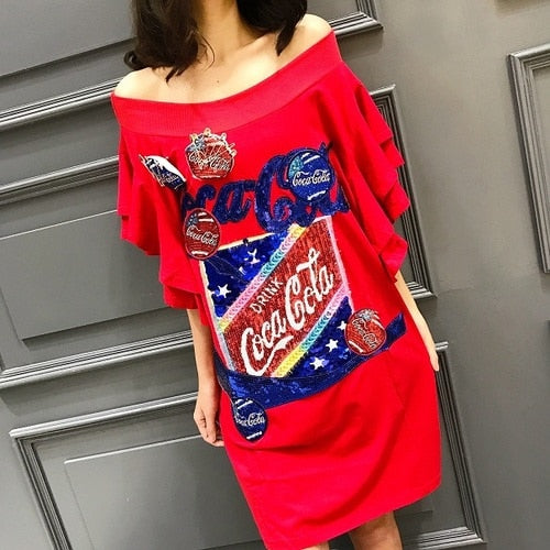 2019 spring and summer European station street fashion cartoon letter sequins word shoulder lotus leaf long female T-shirt