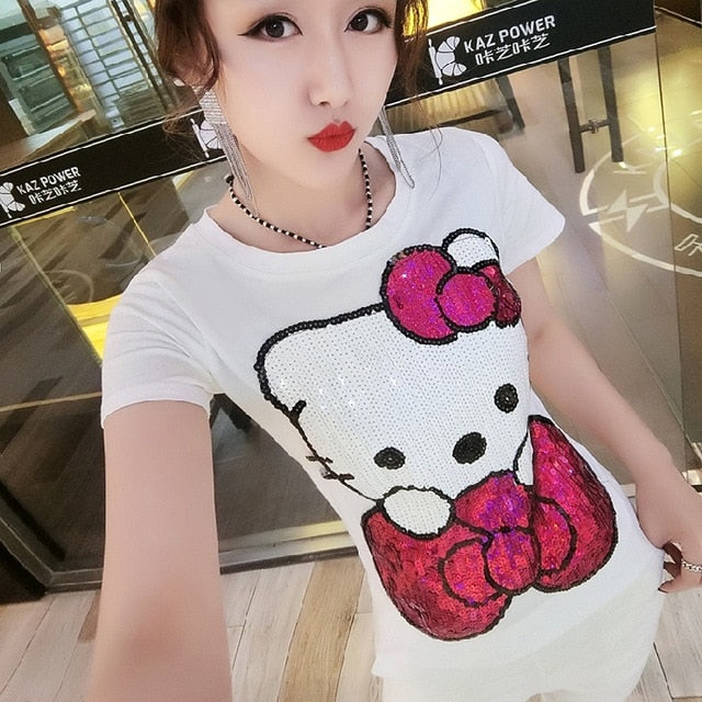 2019 spring and summer Korean version of the new T-shirt female cartoon kt cat Slim short-sleeved sequined shirt women