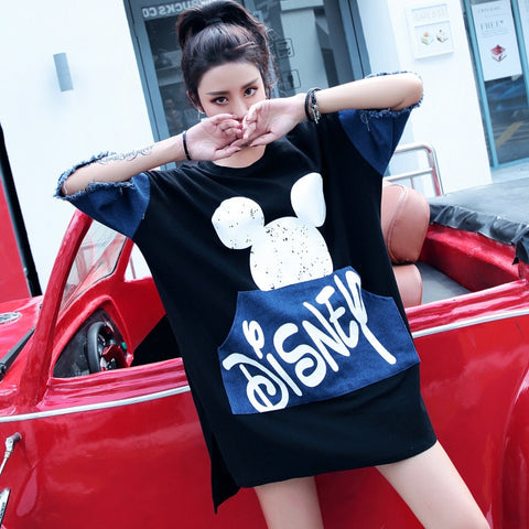 2019 spring and summer new Thai street fashion big size women's Mickey color matching denim long paragraph loose sweater T-shirt