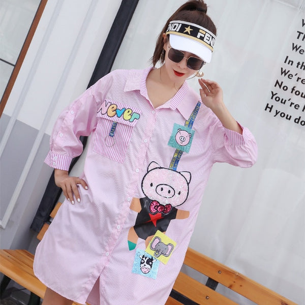 2019 spring and summer new fashion loose large size women's shirt in the long section of the short short shirt women