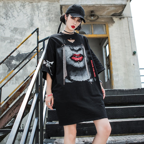 2019 spring and summer new hip hop women's sleeves t-shirt skirt female ins fashion street fashion printed cotton loose shirt