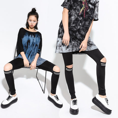 2019 spring and summer new trend of the hole hole leggings female personality stretch cotton was thin ladies feet pants