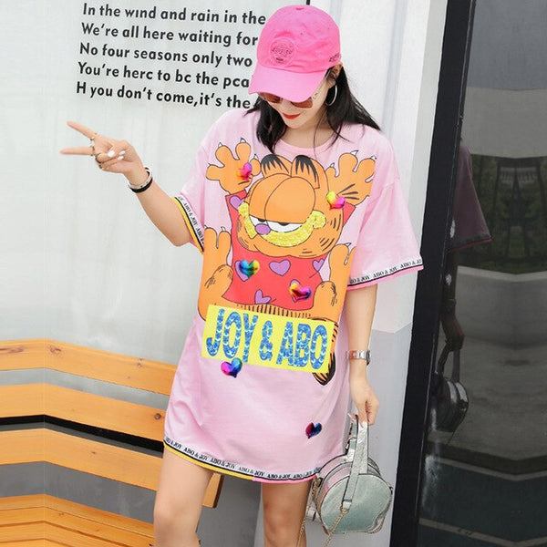 2019 summer new tide brand love Garfield print sequins in the long paragraph loose sets of short-sleeved T-shirt shirt women