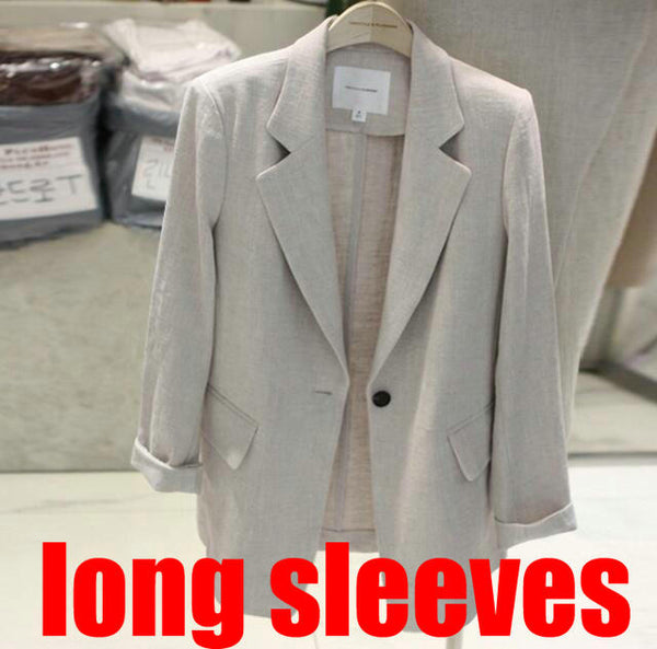 2019 summer women cotton linen blazer coat white blazer long sleeves linen blazer jackets elegant office lady working wear