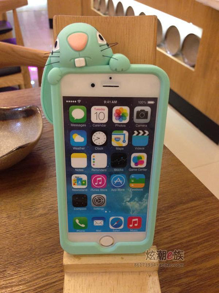 3D Cute Cartoon Bunny Rabbit Soft Silicone Phone Case For Apple iPhone 7 plus Funny Rubber Cover Case For iPhone 6 6S  5S SE 5SE
