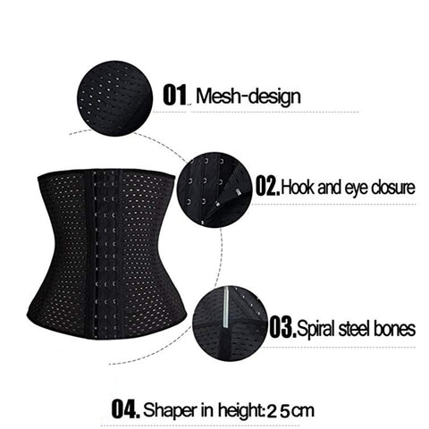 4 Steel Bones Waist Trainer Corset Sexy Women Body Shaper Waist Cincher Underbust Shapewear Slimming Belt 5XL