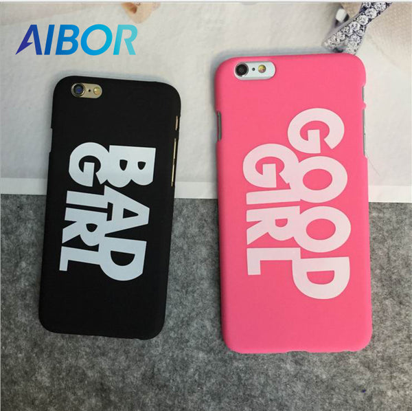 AIBOR Fashion letter BAD GOOD GIRL Pattern Plastic Ultra Thin Back Cover For iPhone X 5 5s Se 6 6s 7 7 8 Plus Funny Phone Case