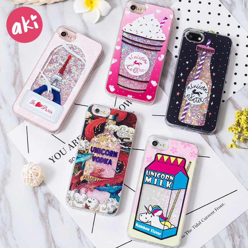 ... AKI Glitter Liquid Quicksand Phone Cases for iPhone 6 6s Plus Case  Bling Unicorn Water Sequins ... 2be80dcb7d