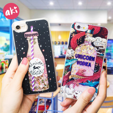 AKI Glitter Liquid Quicksand Phone Cases for iPhone 6 6s Plus Case Bling Unicorn Water Sequins Paris for iPhone 7 8 Plus X Case