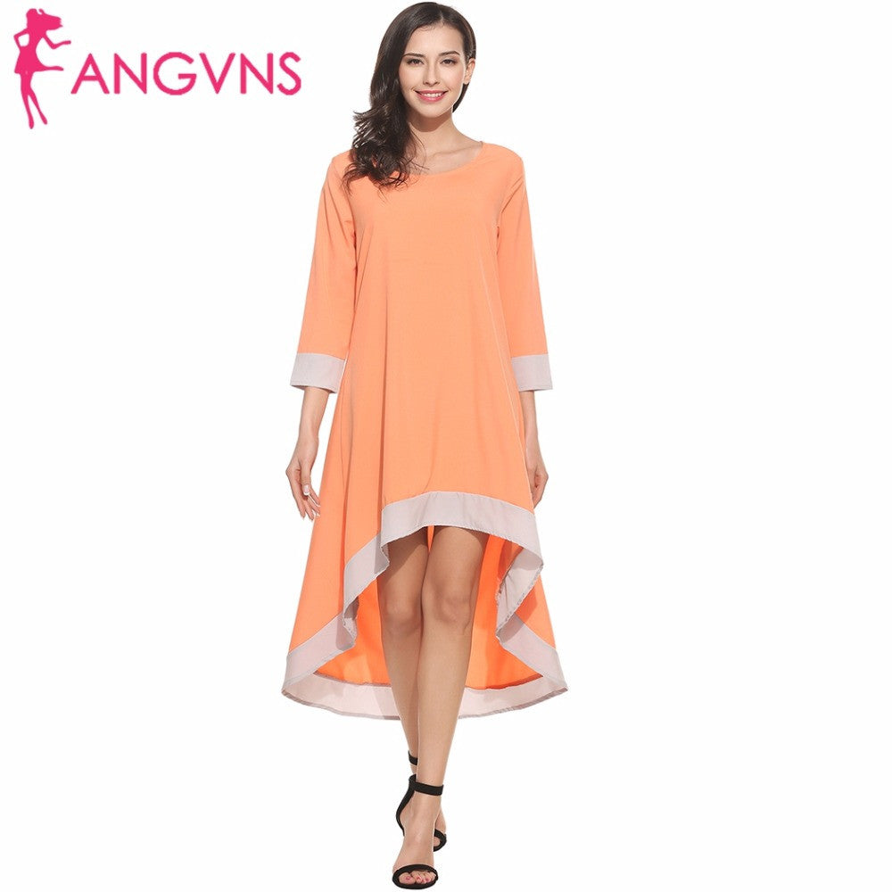 ANGVNS Spring Summer Dress Women 2017 Casual 3/4 Sleeve Lady Beach ...