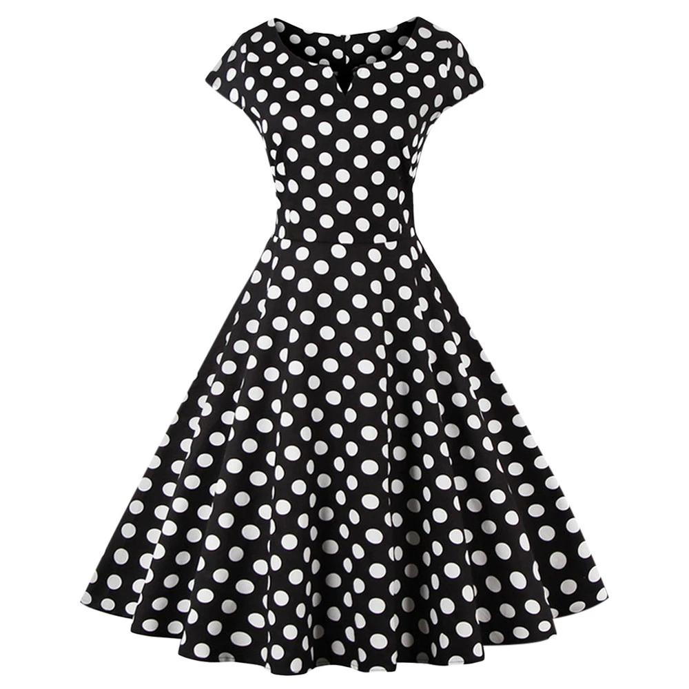AZULINA 50s polka dot vintage retro women dress short sleeve o neck female casual a line vestido robe femme big plus size 4XL