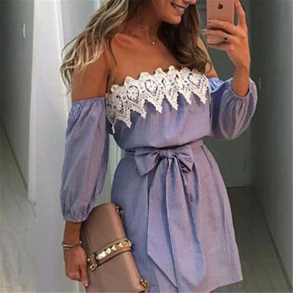 AZULINA Sexy Off Shoulder Blue Striped Mini Dress Women Plus Size Summer Loose Beach Sundress White Lace Crochet Party Dress