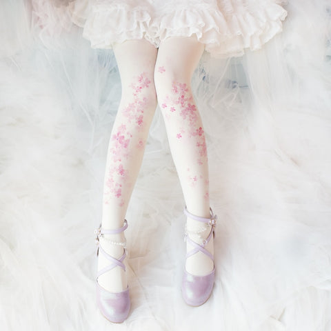 Ancient Customs Lolita Sakura Pattern Printed Thin Leggings Mori Girl Daily Pantynose Stockings Tights Socks Accessories