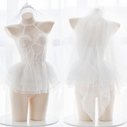 Angel Ballet Girl Lace See-through Underwear Set Sexy Lolita Cospaly Wedding Short Dress Set Mesh White Lingerie Set