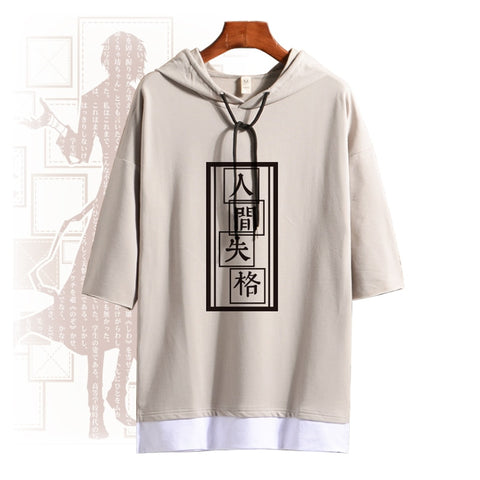 Anime Bungo Stray Dogs Osamu Dazai Cosplay Costume Summer Hooded T Shirt Short Sleeve Unisex Daily Pullover Tee Tops Fashion