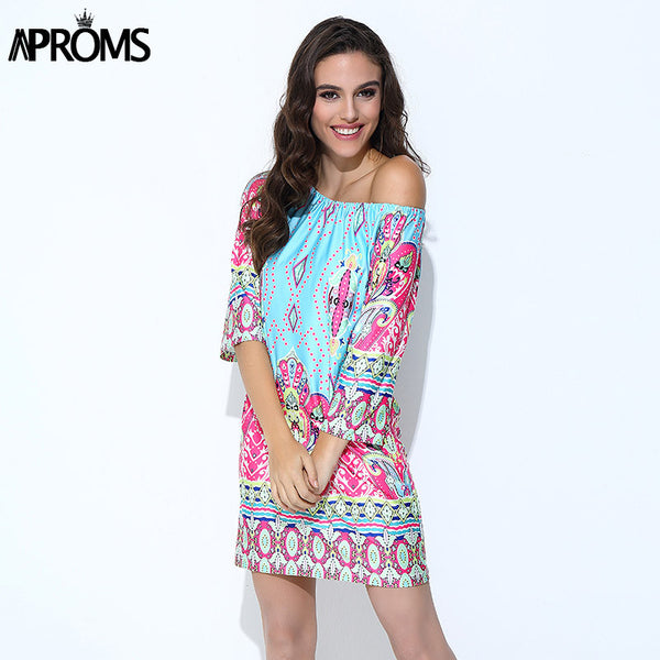 Aproms Bohemian Elegant Women Summer Dress Boho 2017 Off Shoulder Beach Tunic Dresses Sundress European Sexy Vestidos Mujer